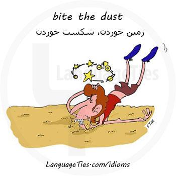 اصطلاح bite the dust  زمین خوردن، شکست خوردن، مردن