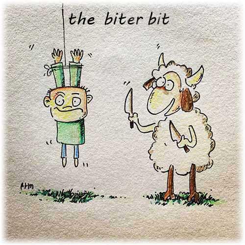 از هر دستی بدی از همون دست میگیری. - the biter bit