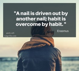 A nail is driven out by nail; habit is overcome by habit.