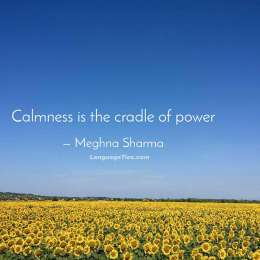 Calmness is the cradle of power.