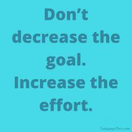 don't decrease the goal increase the effort.